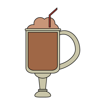 color image cartoon glass cup of cappuccino with foam and straw vector illustration