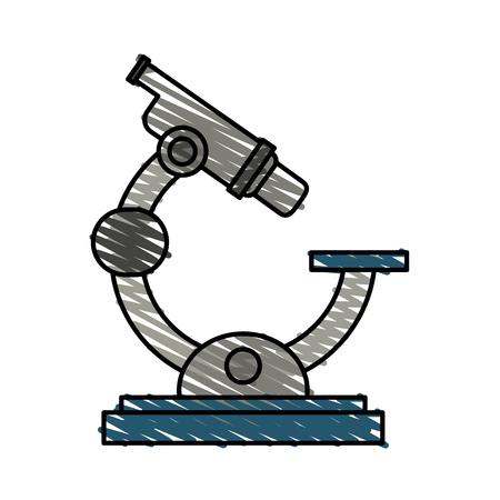 color crayon stripe cartoon microscope science tool vector illustration Illustration