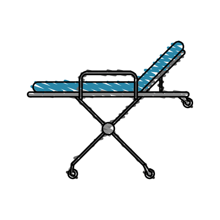 gurney: color crayon stripe cartoon medical stretcher bed on wheels vector illustration