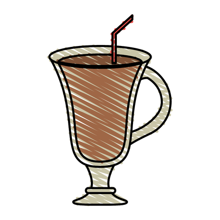 cappucino: color crayon stripe cartoon glass cup of cappucino with straw vector illustration