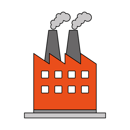 color image cartoon building industrial factory with smoke vector illustration