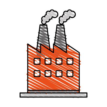 color crayon stripe cartoon building industrial factory with smoke vector illustration