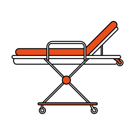 color silhouette image cartoon medical stretcher bed on wheels vector illustration Illustration