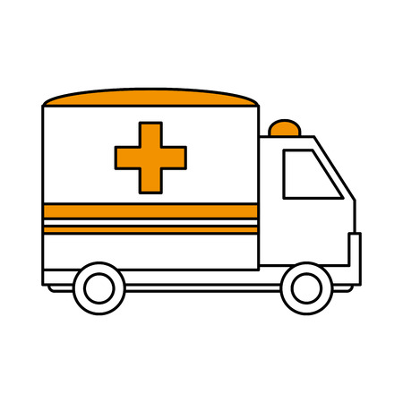 color silhouette image cartoon ambulance truck with cross symbol vector illustration Illustration
