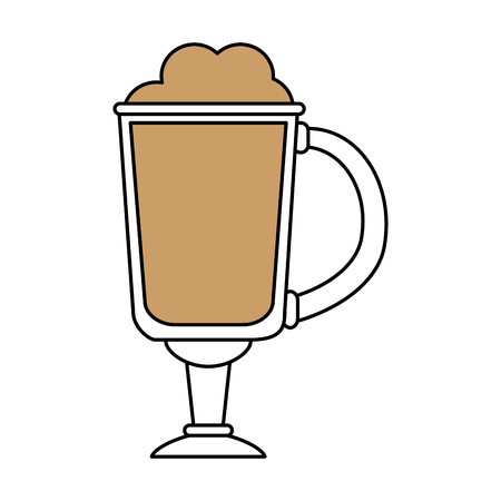 color silhouette image cartoon glass cup of cappuccino with foam vector illustration Illustration