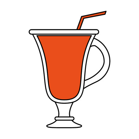 cappucino: color silhouette image cartoon glass cup of cappucino with straw vector illustration Illustration
