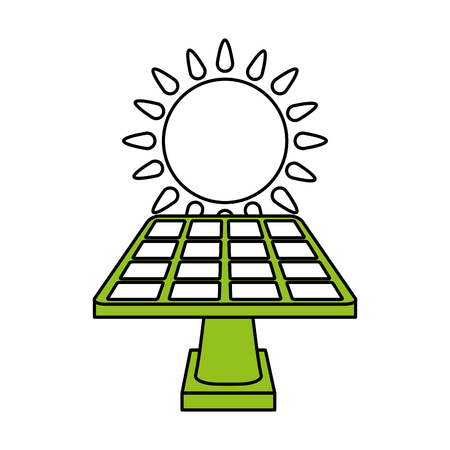 color silhouette image cartoon solar energy panel on platform with shape sun vector illustration