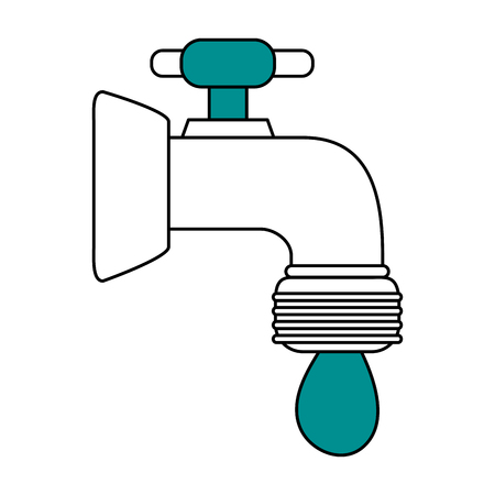 watertap: color silhouette image cartoon watertap with drop icon vector illustration