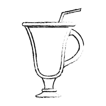 cappucino: blurred silhouette image cartoon glass cup of cappucino with straw vector illustration