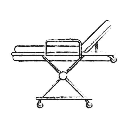 paciente en camilla: imagen de la silueta borrosa cama de camilla médica de dibujos animados sobre ruedas ilustración vectorial Vectores