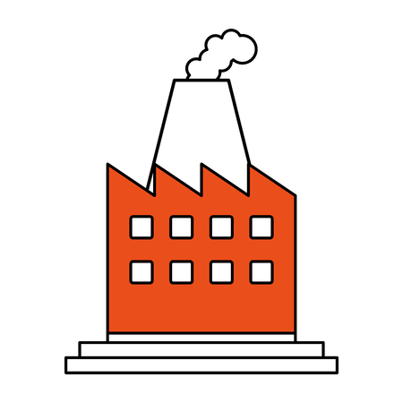 elaborate: color silhouette image cartoon building industrial factory with smoke vector illustration