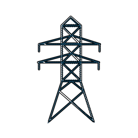 drawing electricity tower distribution energy light vector illustration