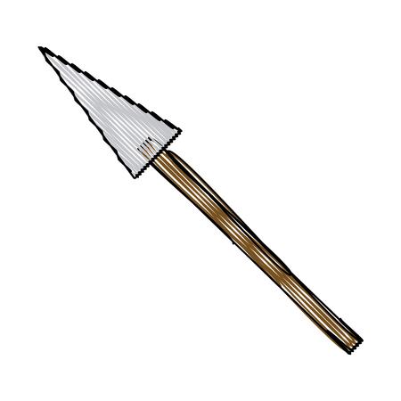 cartoon spear weapon war medieval vector illustration