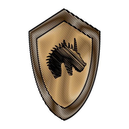cartoon shield knight fairy tale emblem victorian vector illustration Illustration