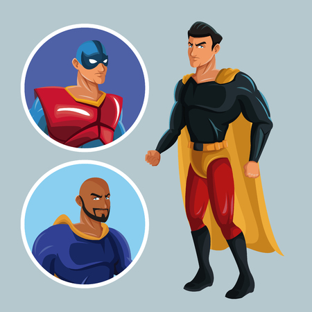 superhero protecting justice characters comic vector illustration Illustration