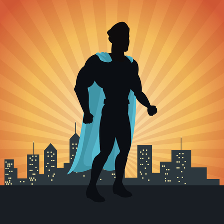 superhero action justice posing front cityscape vector illustration