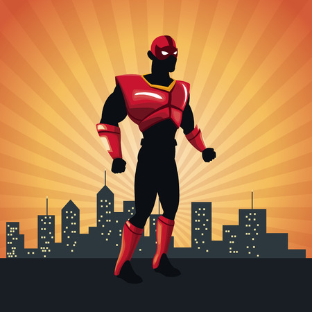 cloak: superhero action justice posing front cityscape vector illustration