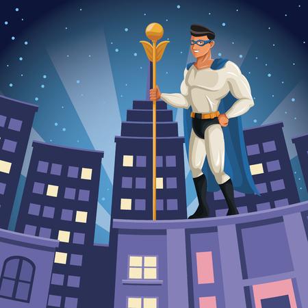 スーパー ヒーロー市夜ベクトル図を建物の上を見て