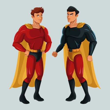 two superhero male justice with super suit vector illustration