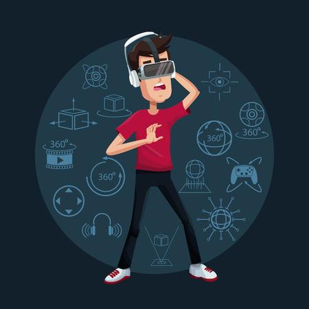 Ilustración de vector de tecnología futurista de goggle joven hombre joven