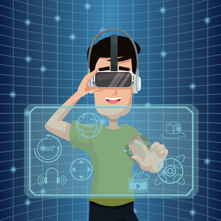 Virtual reality wearing goggles three dimensional cyberspace vector illustration
