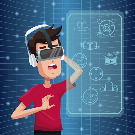 Homem jovem realidade virtual vestindo óculos futuristas. Alta tecnologia. Ilustração do vetor. Ilustración de vector