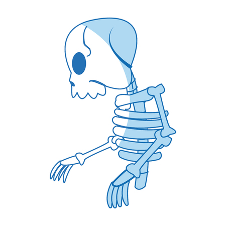 comic skeleton human walk character vector illustration