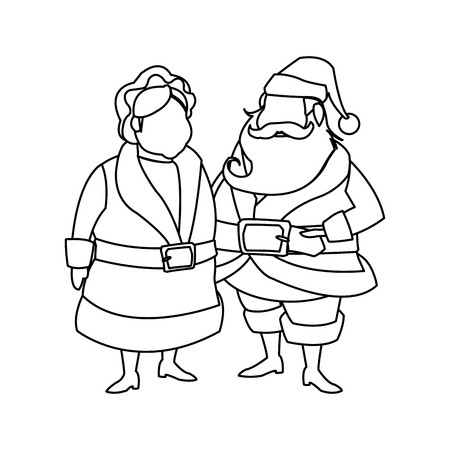 mrs santa claus: couple mr and mrs santa claus characters outline vector illustration Illustration