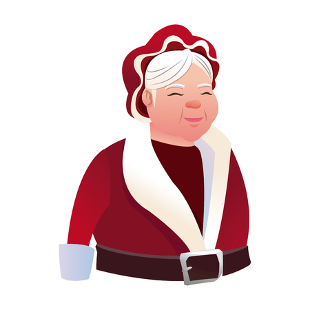 cartoon mrs claus. merry christmas and new year symbol. fun character image vector illustration Illustration