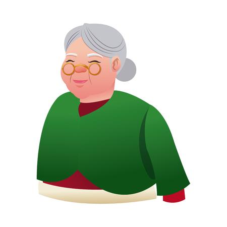 mrs santa claus: cartoon mrs claus. merry christmas and new year symbol. fun character image vector illustration Illustration