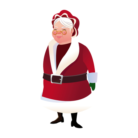 cartoon mrs claus. merry christmas and new year symbol. fun character image vector illustration Ilustração