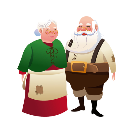 mrs santa claus: cute couple mr and mrs santa claus traditional vector illustration Illustration