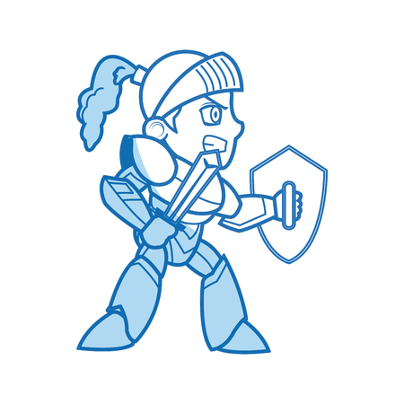 comic knight armor sword helmet shield vector illustration