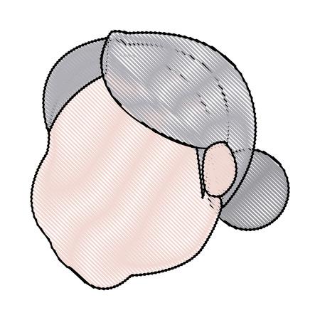 mrs santa claus: character faceless mrs claus hair hat vector illustration Illustration