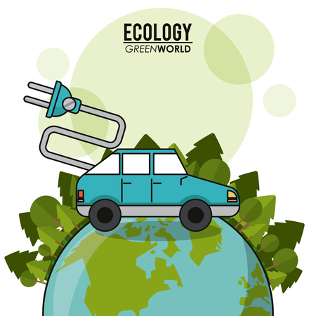 ecology green world car vehicle transport electric concept vector illustration