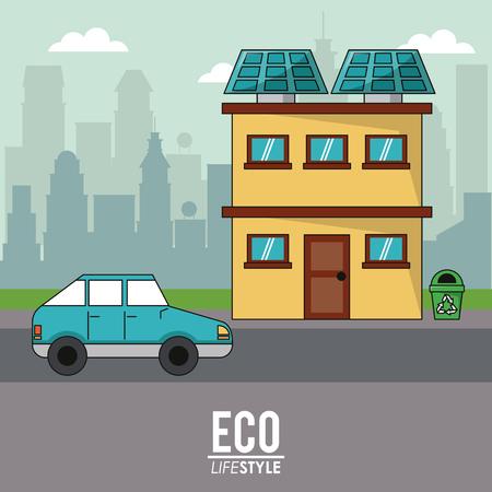 global communication: eco lifestyle home house car transport city background vector illustration