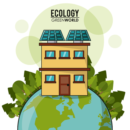 ecology green world house solar panel forest vector illustration