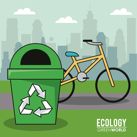 ecology green world bicycle recycle trash can urban image vector illustration