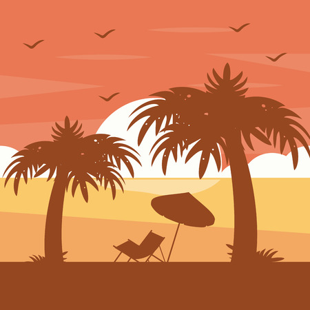 two palm trees chair umbrella silhouette on sunset tropical beach vector illustration