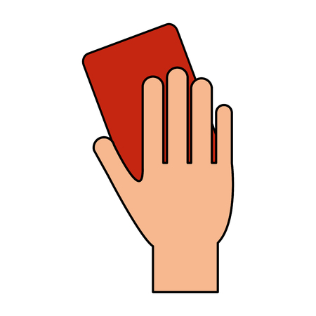 color image cartoon hand with red card vector illustration Illustration