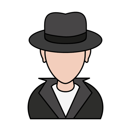 color image cartoon half body hacker with jacket and hat vector illustration