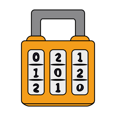 color image cartoon combination padlock with square body vector illustration Illustration