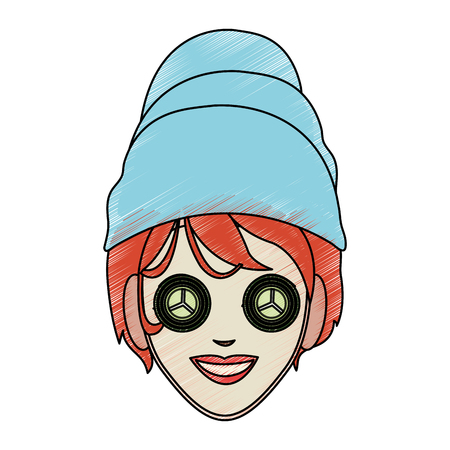 color pencil cartoon face woman with towel in head and mask with cucumbers vector illustration
