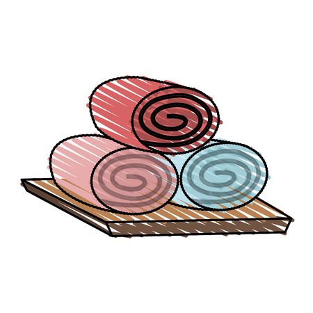 rolled up: color crayon stripe cartoon set of rolled up colored towels vector illustration