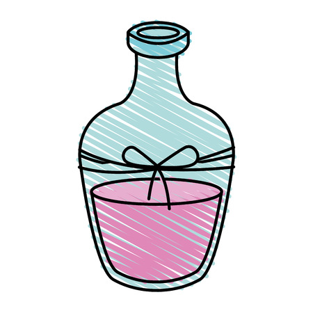 color crayon stripe cartoon transparent glass bottle essential oil for spa massage with bow lace vector illustration Illustration