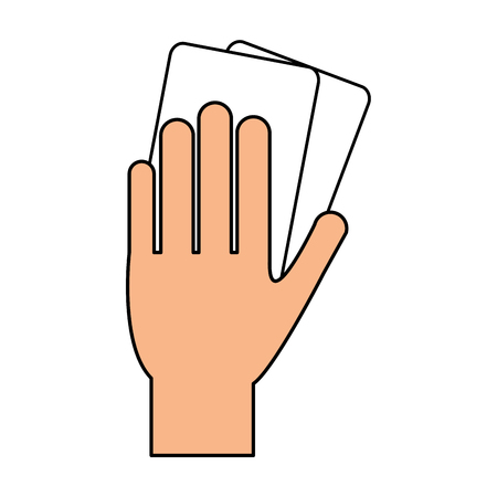 color silhouette of hand with soccer referee cards vector illustration Illustration