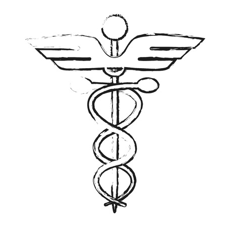 monochrome blurred silhouette of cartoon health symbol with serpent entwined vector illustration Illustration