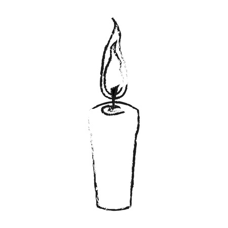 smell of burning: monochrome blurred silhouette with decorative candle spa vector illustration