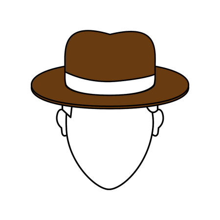 color image cartoon faceless man with brown hat and bow lace vector illustration