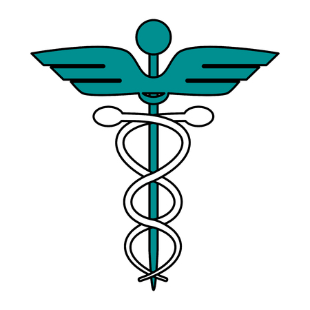 esculapio: color graphic of cartoon health symbol with serpent entwined vector illustration